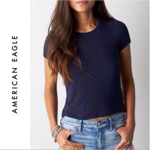 AEO Navy Blue Polka Dot Cropped Tee T Shirt